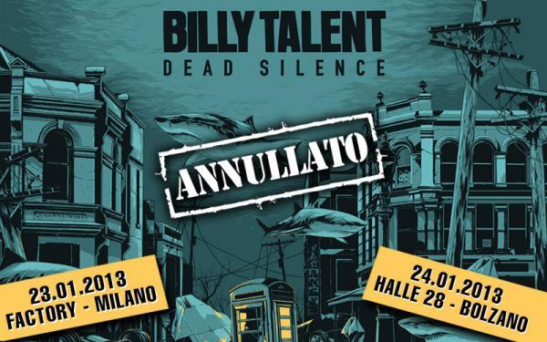 BILLY TALENT: tour europeo annullato